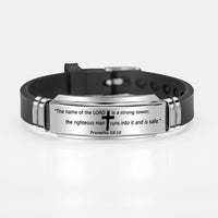 Men's Silicone Bracelet, Imprinted Cross and Bible Verse