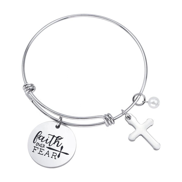 "Women's Adjustable ""Faith Over Fear"" Wire Bracelet"