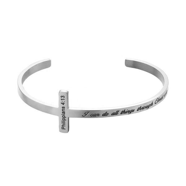 Women's Stainless Steel Cross Cuff Bracelet - Bible Verse Engraved