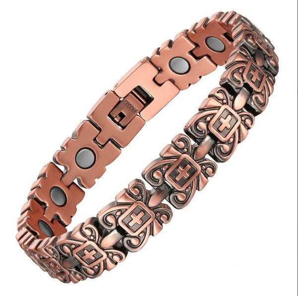 Women's Copper Magnetic Therapy Bracelet with Embossed Cross Scroll Design