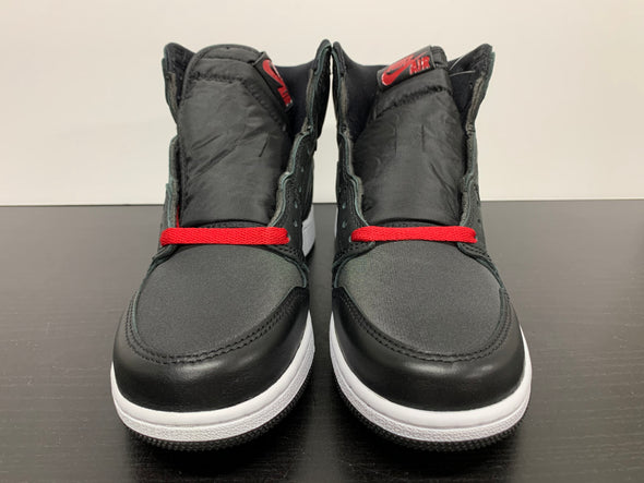 Nike Air Jordan 1 Black Satin Gym Red GS
