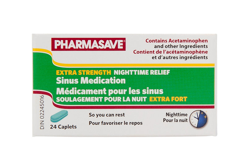 Pharmasave Sinus Medication Extra Strength (Nighttime) - 24 Caplets - Simpsons Pharmacy
