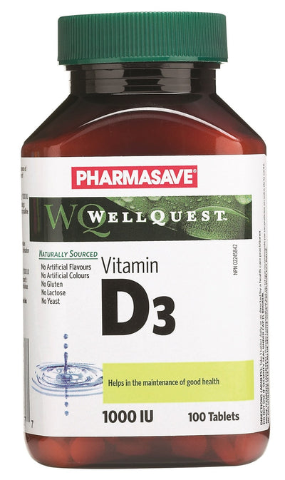 Pharmasave WellQuest Vitamin D3 1000IU Tablets