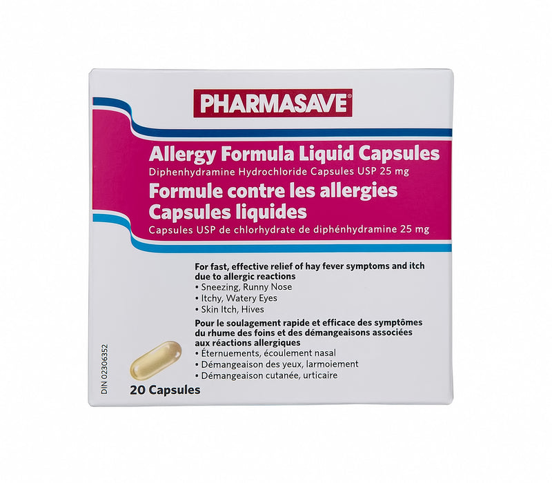 Pharmasave Allergy Relief Formula 25mg - 20 Liquid Capsules - Simpsons Pharmacy