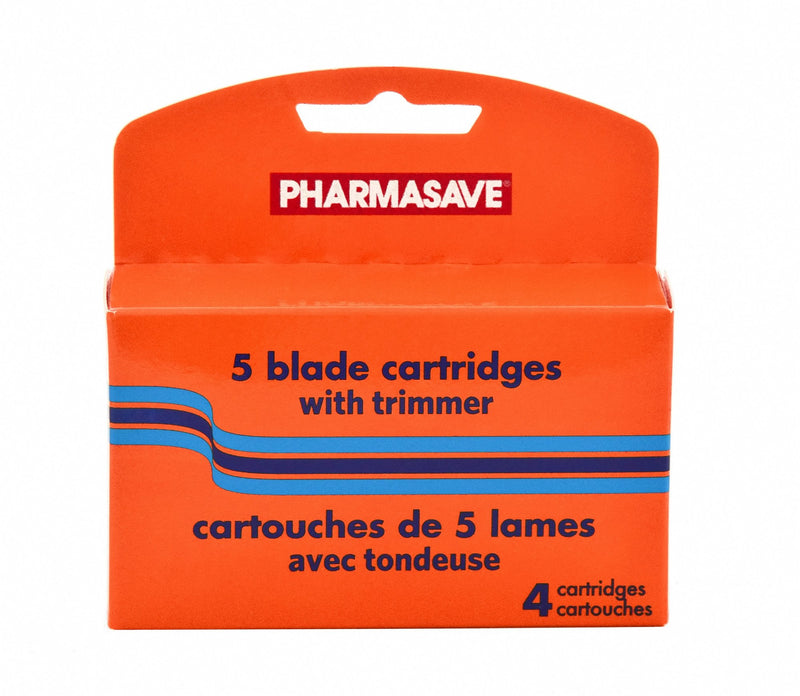 Pharmasave 5 Blade Cartridges with Trimmer - 4 Cartridges - Simpsons Pharmacy