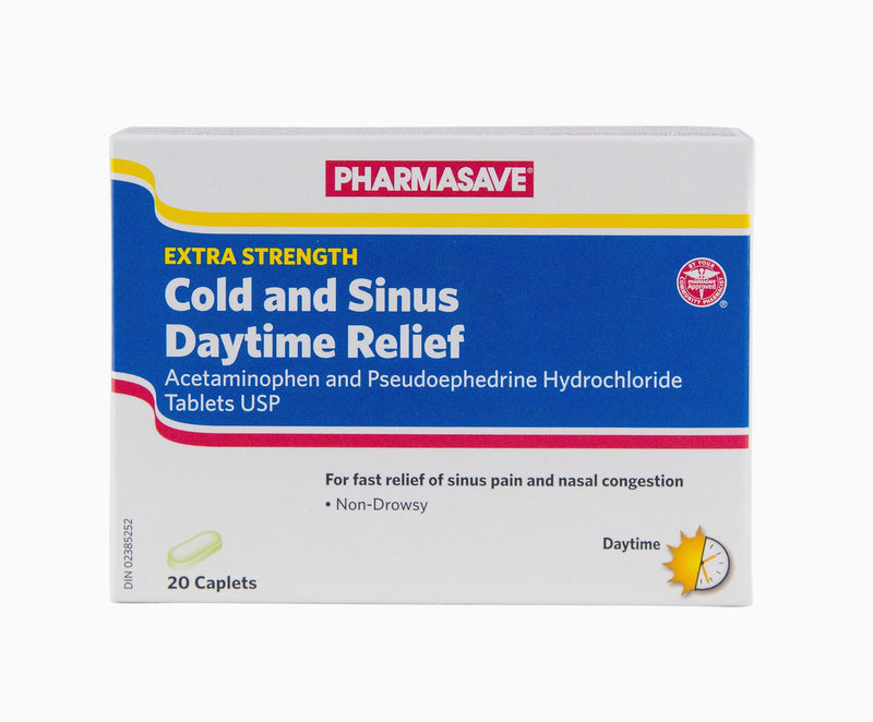 Pharmasave Extra Strength Cold & Sinus Daytime Relief - 20 Caplets - Simpsons Pharmacy