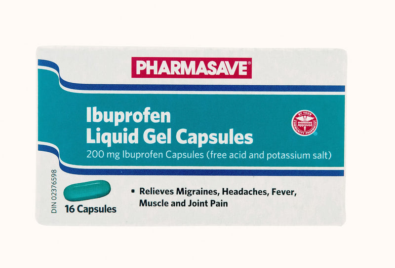 Pharmasave Ibuprofen Liquid Gel 200mg - 16 Capsules - Simpsons Pharmacy