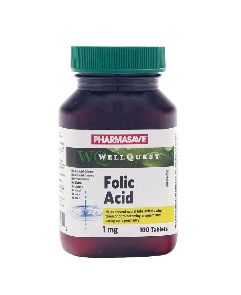 Pharmasave WellQuest Folic Acid Tablets USP 1mg Tablets - Simpsons Pharmacy
