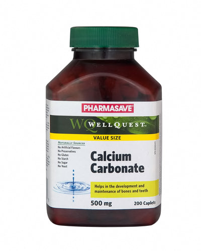 Pharmasave WellQuest Calcium Carbonate 500mg Caplets - Simpsons Pharmacy