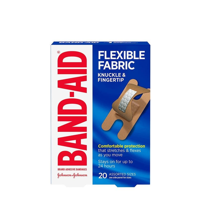 BAND-AID BANDAGE - FLEXIBLE FABRIC - KNUCKLE & FINGER TIP 20S - Simpsons Pharmacy