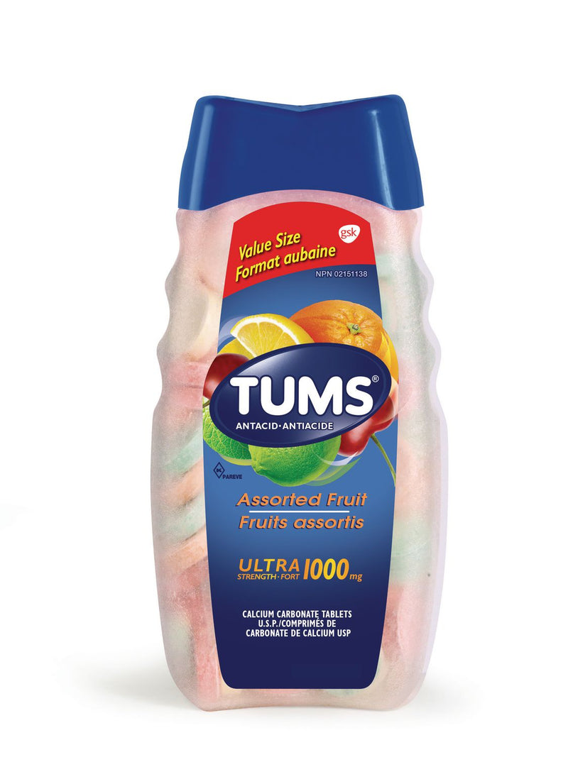 Tums Ultra Strength Antacid 1000mg Assorted Fruit Flavour - 72 Tablets - Simpsons Pharmacy