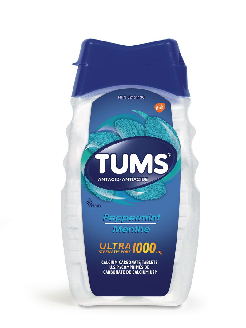 Tums Ultra Strength Antacid 1000mg Peppermint Flavour - 72 Tablets - Simpsons Pharmacy