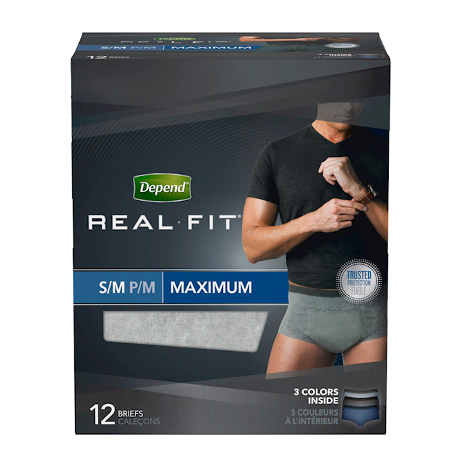 DEPEND FOR MEN, REAL FIT, UNDERWEAR, MAXIMUM, S/M, 12's - Simpsons Pharmacy