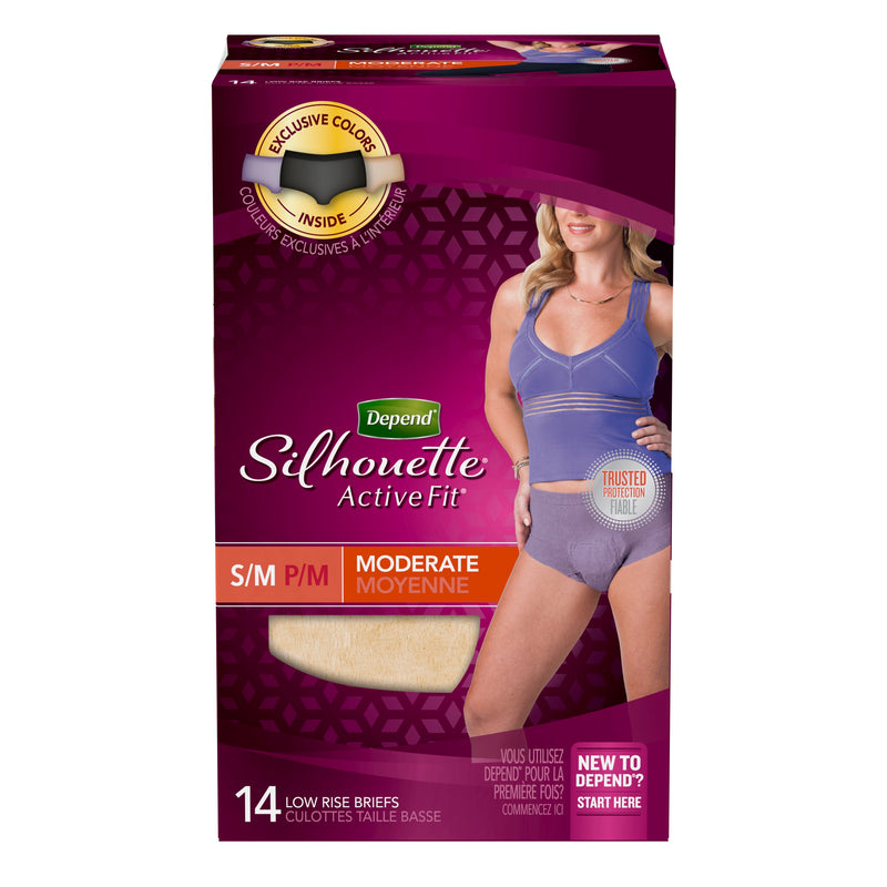 DEPEND SILHOUETTE FOR WOMEN, LOW-RISE UNDERWEAR, MODERATE, S/M,  14's - Simpsons Pharmacy