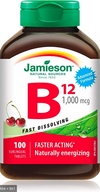 Jamieson Vitamin B12 1000mcg, 100 sublingual tablets - Simpsons Pharmacy