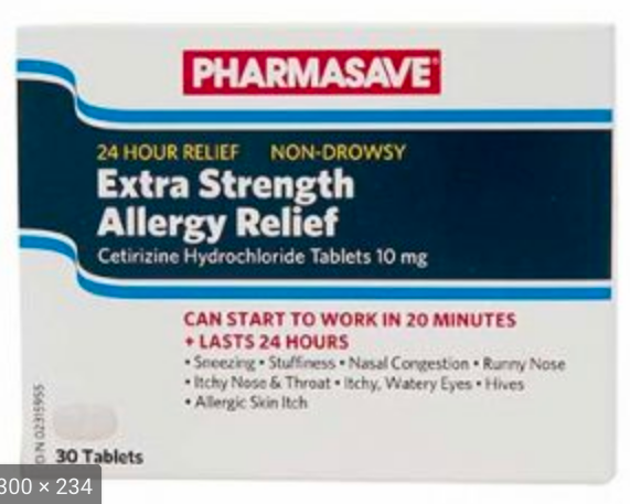 Pharmasave Allergy Relief (Cetirizine) 10mg - Extra Strength Tablets - Simpsons Pharmacy