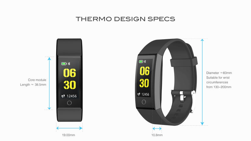 Thermo Skin Temperature Tracker Smart Wristband - One Size - Black - Simpsons Pharmacy