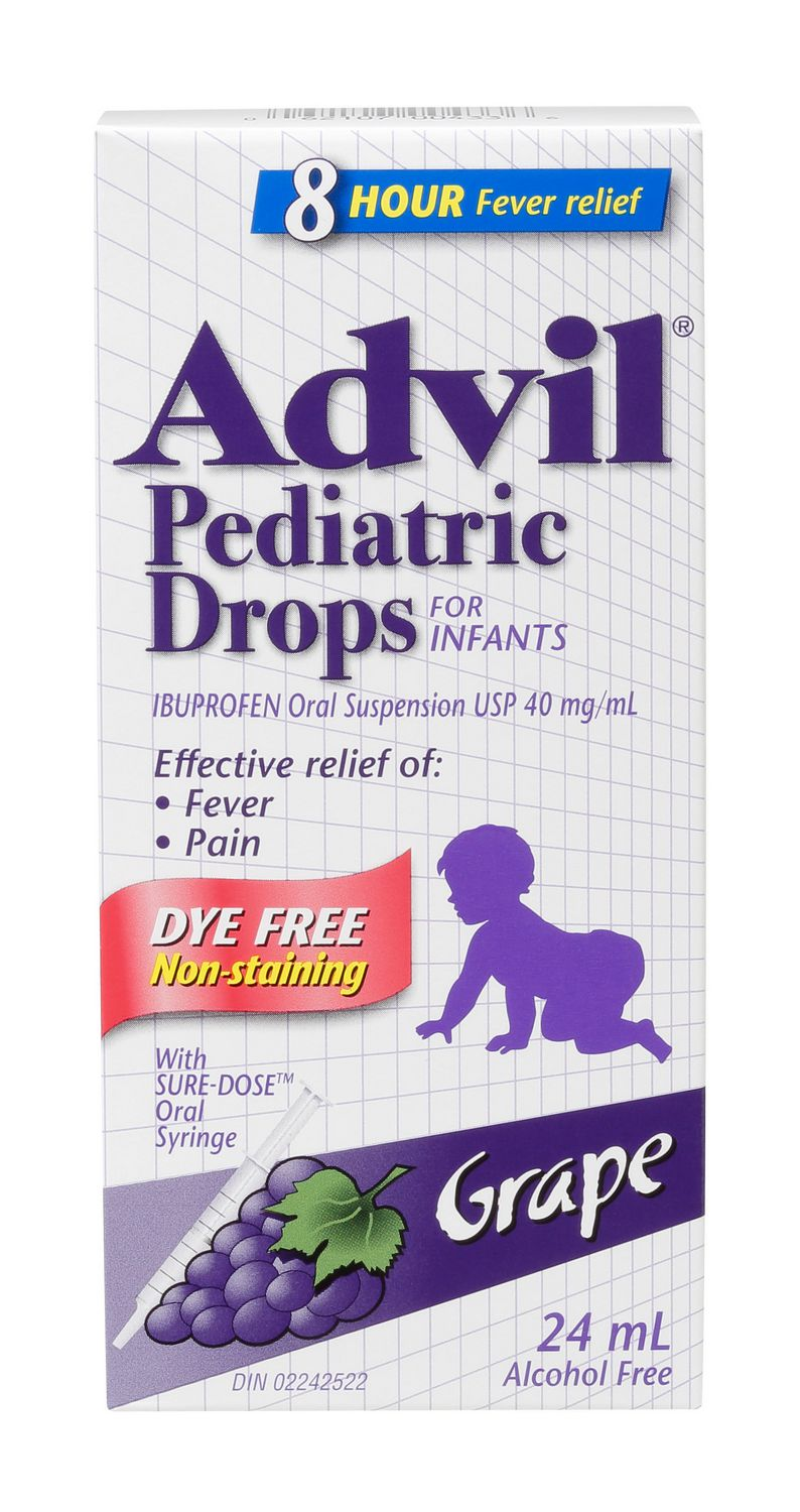 Advil Pediatric Ibuprofen 40mg Fever & Pain Relief Grape Flavour Drops for Infants - 24mL - Simpsons Pharmacy