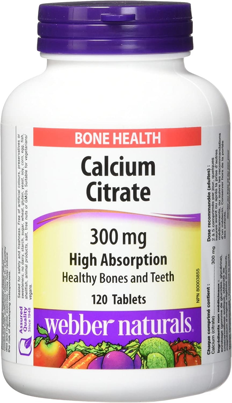 Webber Naturals Calcium Citrate 300mg High Absorption Bone Health - 120 Tablets - Simpsons Pharmacy