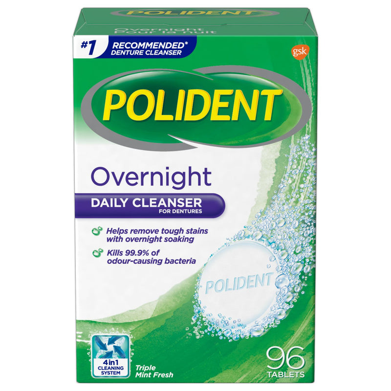 Polident Overnight Daily Cleanser for Dentures - Triple Mint Fresh 96 Tablets - Simpsons Pharmacy
