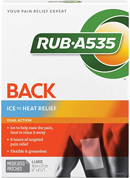 Rub A535 Back Ice to Heat Pain Relief Patches - 4 Large Patches - Simpsons Pharmacy