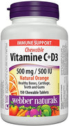 Webber Natural Vitamin C+D3 500mg/ 500IU Orange - 200 Chewable Tablets - Simpsons Pharmacy