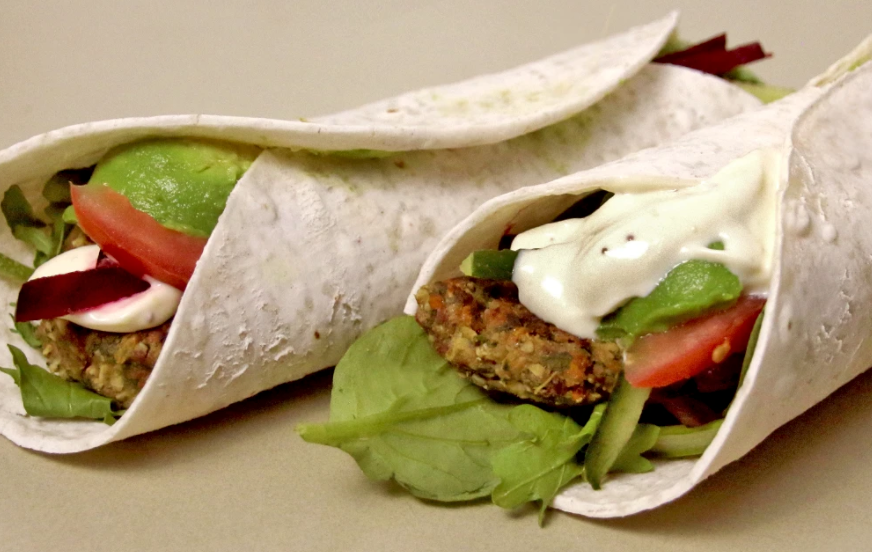 Vegan and Gluten Free Burger Wrap