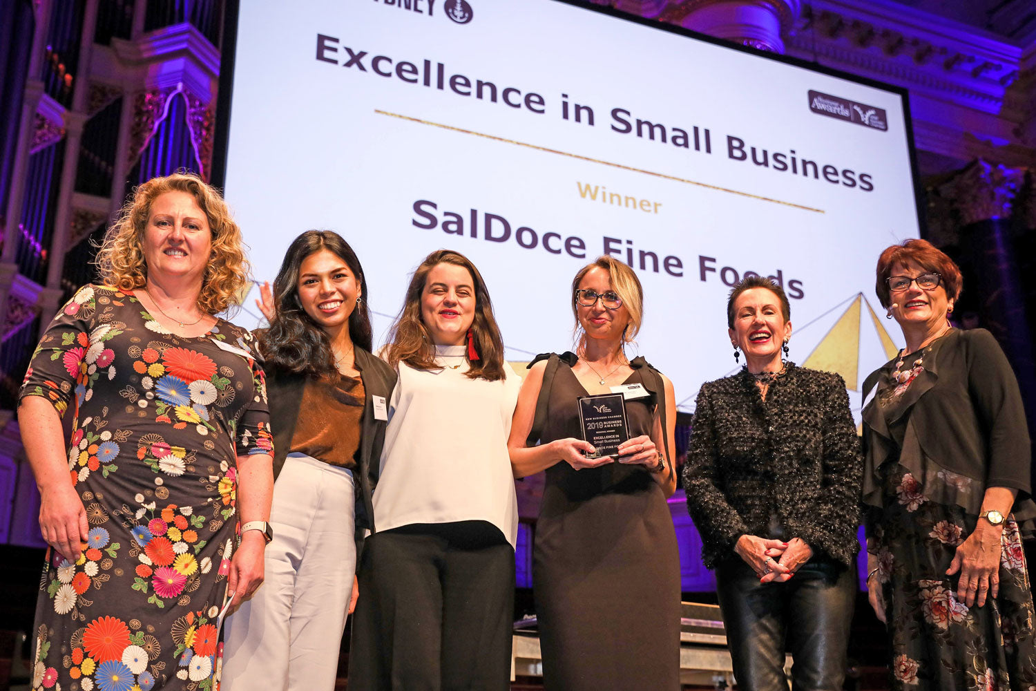 janica barrios janz kate mortensen martin talacko cristina yesyoucan saldoce fine foods business awards chamber commerce nsw sydney