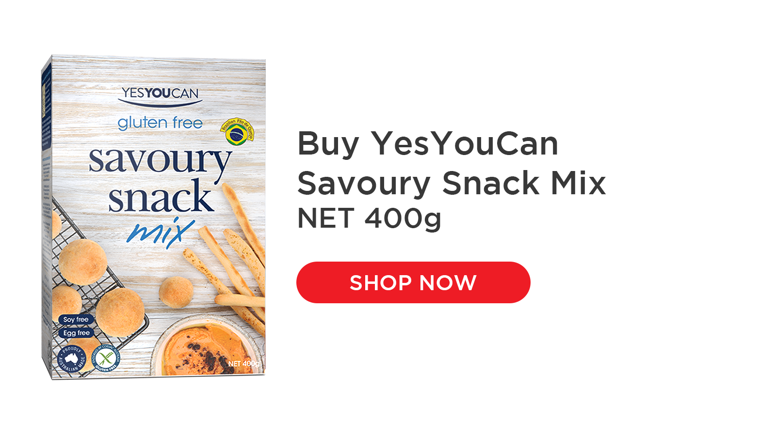 YesYouCan Savoury Snack Mix makes P̣ao de Queijo, Brazil's famous gluten free cheese bread snacks. It is crunchy on the outside and cheesy and gooey on the inside. It is easy to prepare and great for parties, snacks or school lunchboxes.