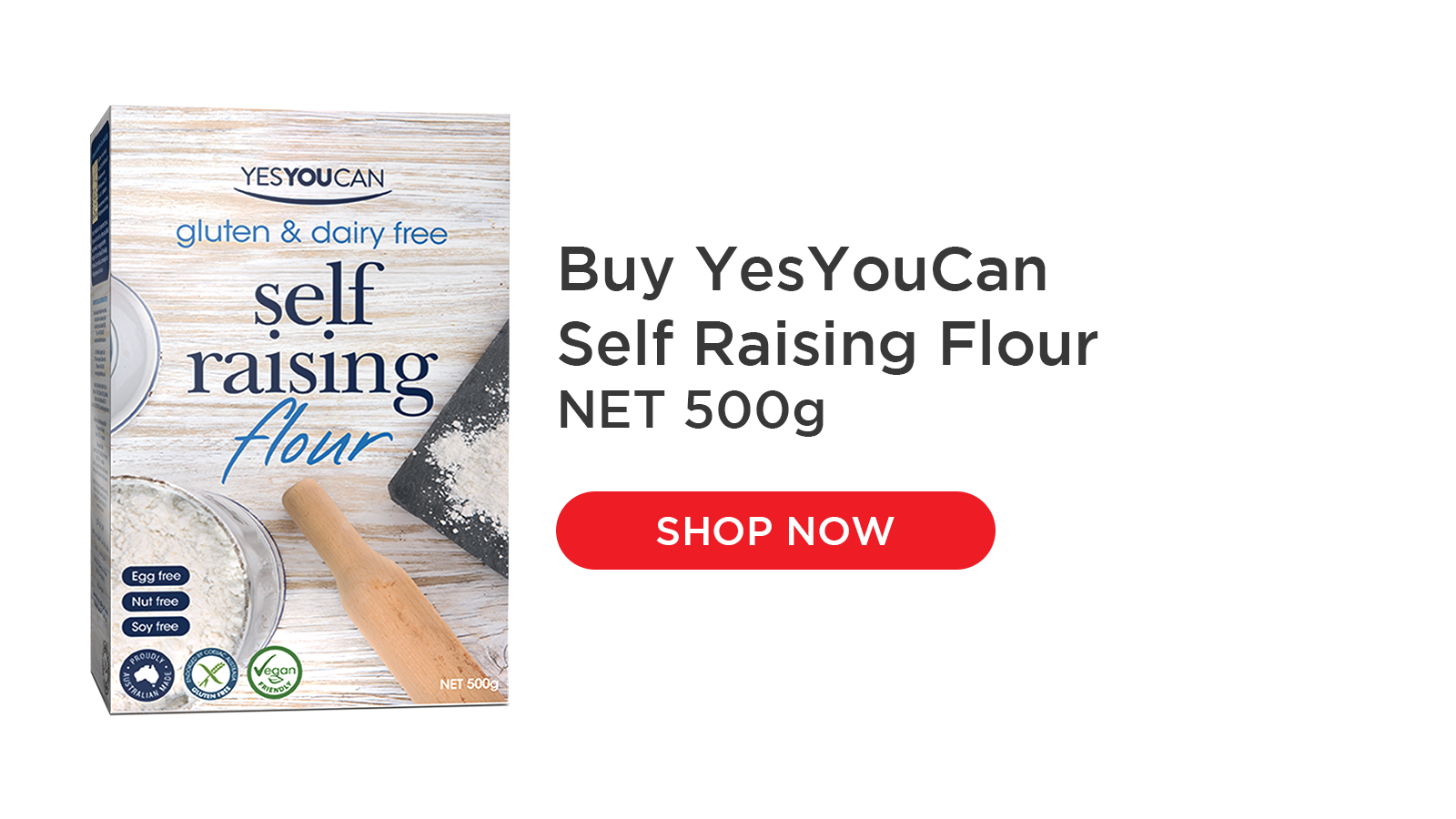 YesYouCan Plain and Self Raising Flours are versatile flours, designed to replace regular flour cup-for-cup in your favourite recipes. Not only are they great for baking such as breads, cakes, pastry, pizza bases, they are also fantastic for batters, dumplings, thickening sauces and coating foods for frying. Dairy and egg free so suitable for vegan cooking. Also low FODMAP.