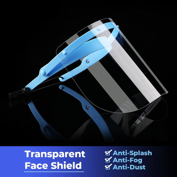 Face Shield Mask Adjustable Holder Full Face Protection Anti Dust Fog - 1PC Holder & 10PCS Shields