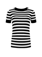 Load image into Gallery viewer, Black and white striped t-shirt