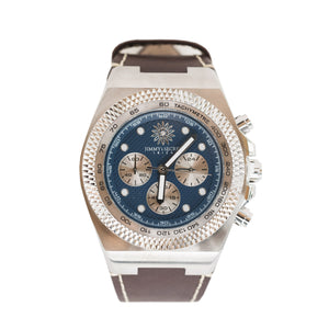 Jimmys Secret Silver Blue Chronograph top