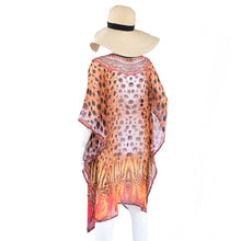 Load image into Gallery viewer, Jimmys Secret Tunika Kaftan Ibiza Fashion magical print and luxurious applications back