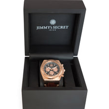 Laden Sie das Bild in den Galerie-Viewer, Rose Lether Strap Chrono Jimmys Secret in Box black