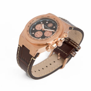 Rose Lether Strap Chrono Jimmys Secret side