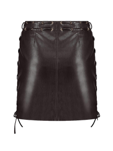 Imitation leather skirt with lace up details brown