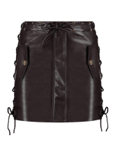 Load image into Gallery viewer, Imitation leather skirt with lace up details brown