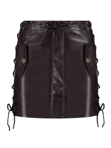 Imitation Leather Skirt Kendall brown