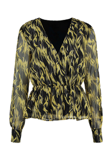 Blouse yellow-black flame print