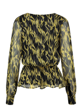 Load image into Gallery viewer, Blouse yellow-black flame print