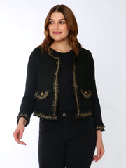 Cafe Jade Tweed Jacket In Black