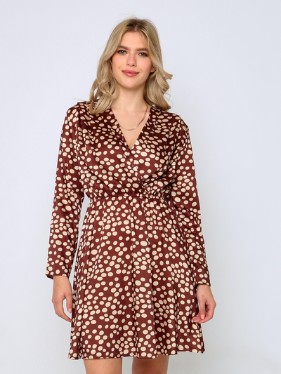 Cafe Jade Autumn Rust Satin Dress