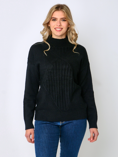 Jenny Wren High Neck Jumper Black