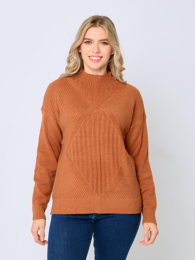 Jenny Wren High Neck Jumper Autumn Rust