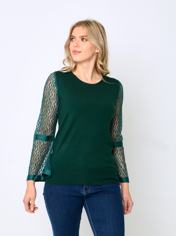 Jenny Wren Knitted Lace Top In Emerald Green