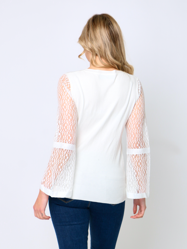 Jenny Wren Knitted Lace Top In White
