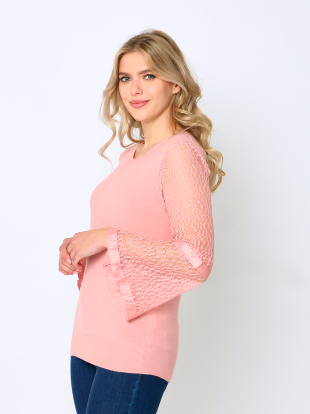 Jenny Wren Knitted Lace Top In Rose