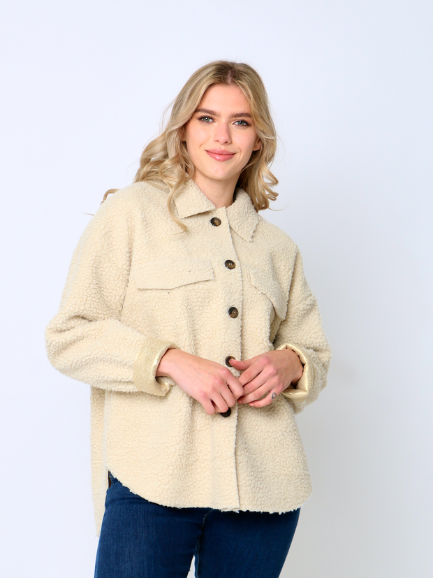 Jenny Wren Gold Leather Teddy Shacket