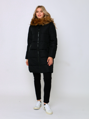 Black Puffer Coat With Fur Collar